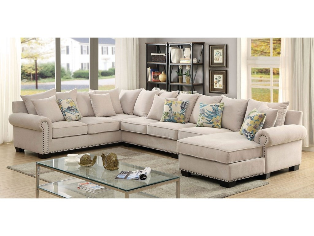 Skyler 4 Piece Sectional Sofa with Scattered Back Pillows and Nailhead Trim  by Furniture of America at Rooms for Less
