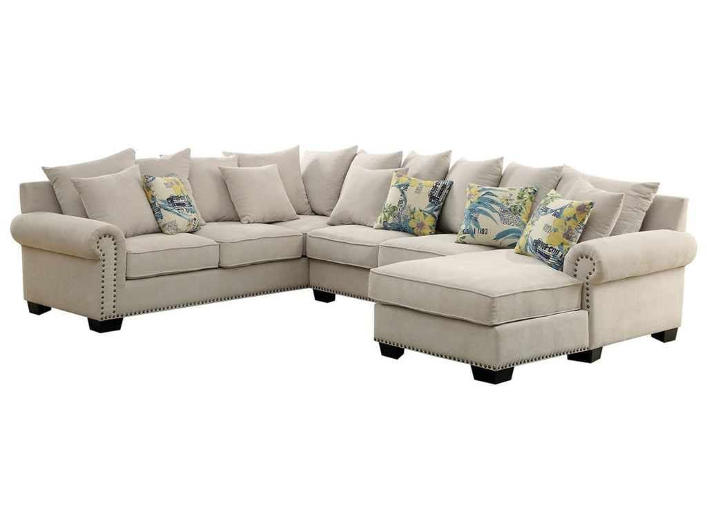 Skyler 3 Piece Sectional Sofa with Scattered Back Pillows and Nailhead Trim  by Furniture of America at Dream Home Interiors