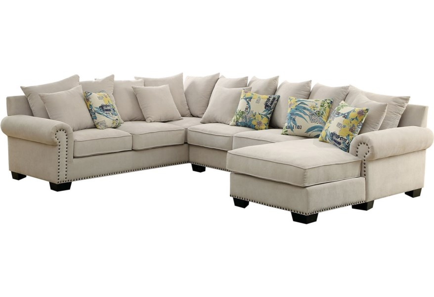 Skyler 3 Piece Sectional Sofa With Scattered Back Pillows And Nailhead Trim Household Furniture Sectional Sofas