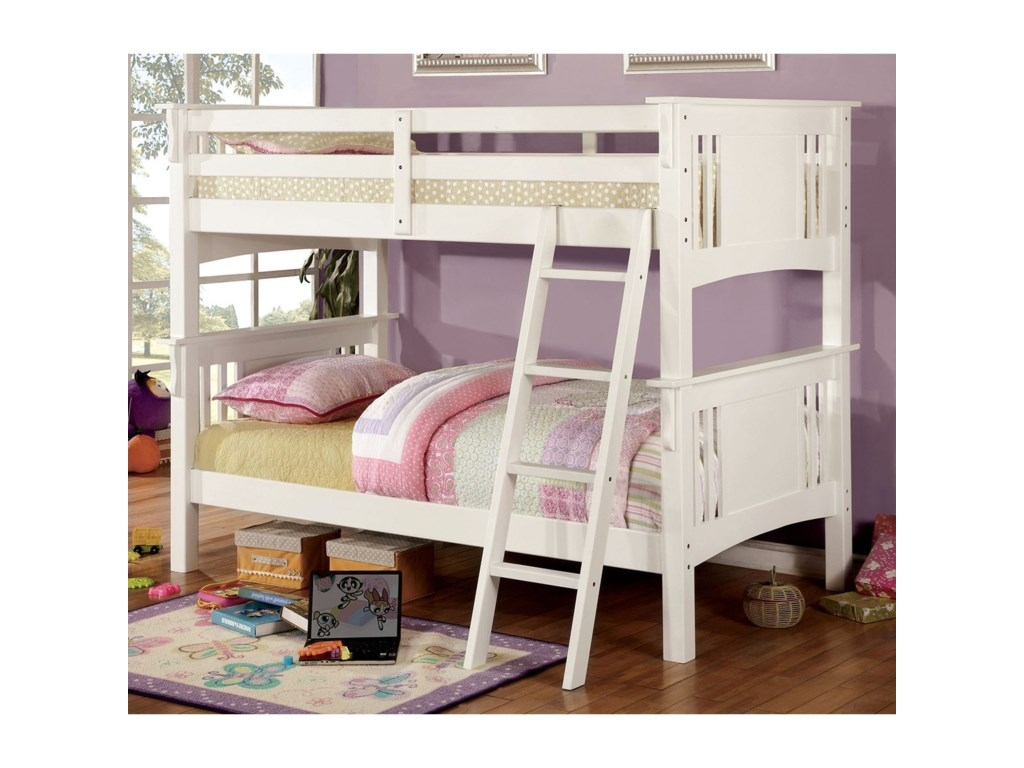Furniture Of America Spring Creek Cm Bk602t Wh Bed Twin Twin Bunk