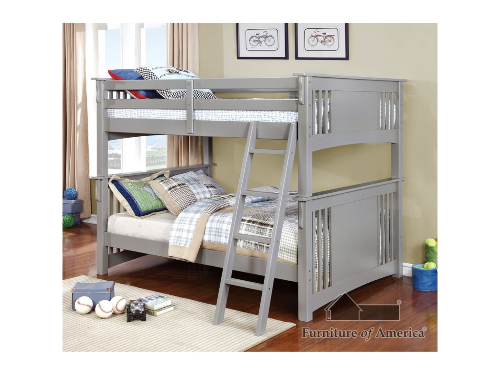 Furniture Of America Spring Creek Cm Bk603gy Bed Full Full Bunk Bed