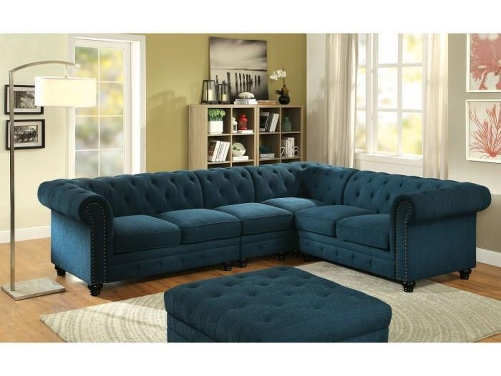 Furniture of America Stanford II Contemporary Style Teal Sectional ...