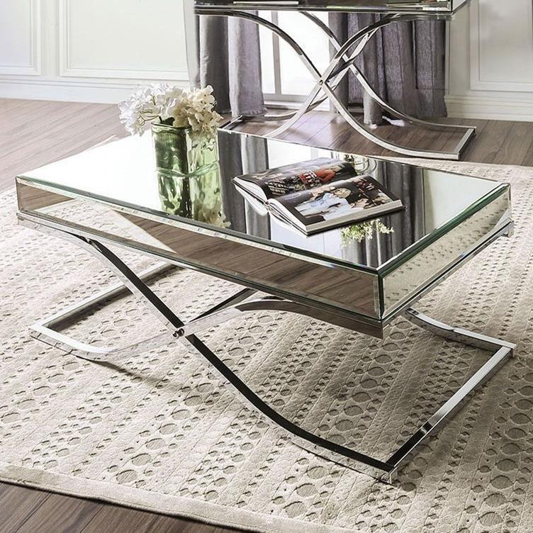 America Sundance Mirrored Coffee Table With Metal Frame