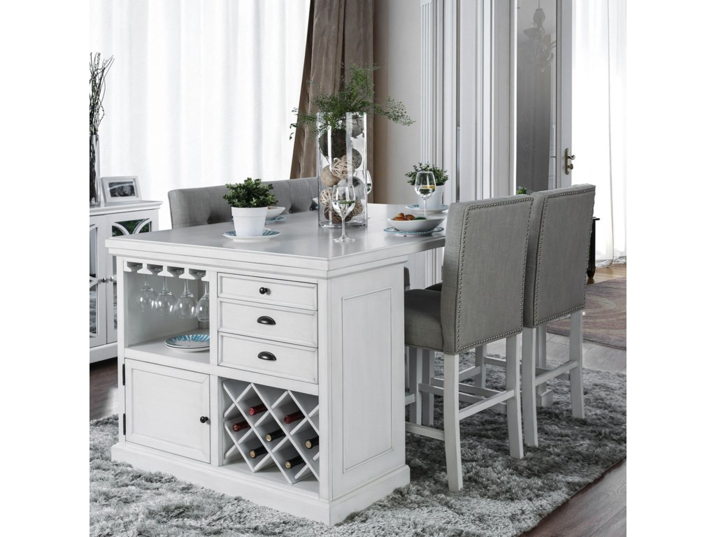 Furniture Of America Sutton Counter Height Table With Wine Storage