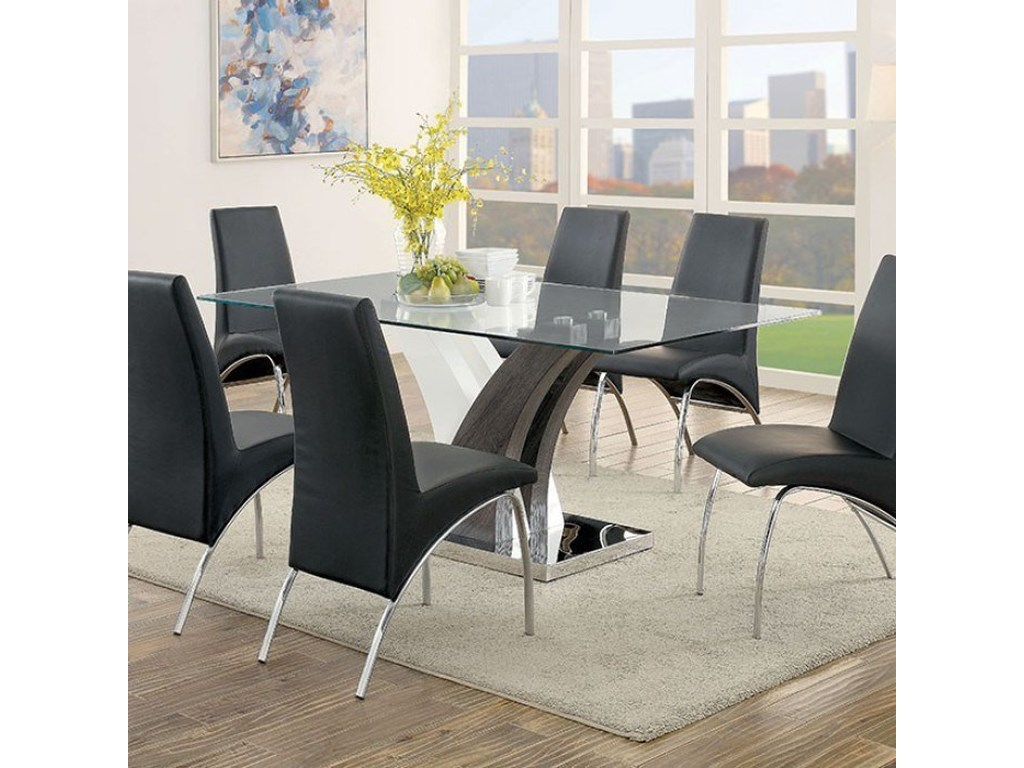 Svana Contemporary Dining Table with Glass Top by Furniture of America at  Rooms for Less