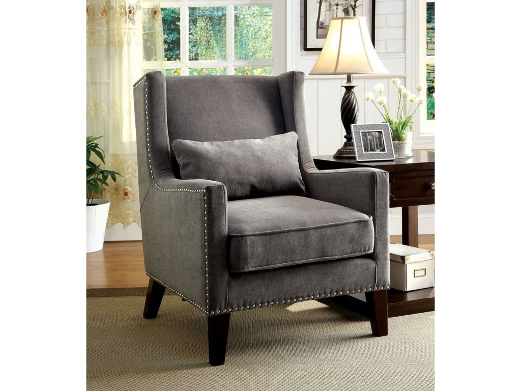 Furniture Of America Tomar Cm Ac6115gy Transitional Accent Chair