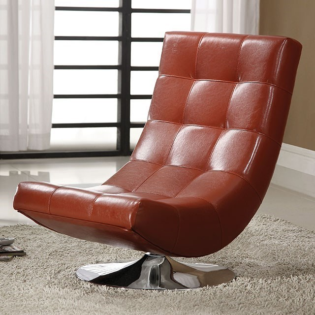 Furniture of america trinidad swivel chair with tufted back in leatherette