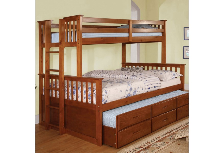 Furniture Of America University Twin Over Full Bunk Bed And Trundle Dream Home Interiors Bunk Beds