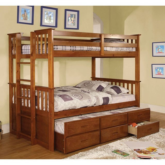 Furniture Of America University Cm Bk458t Ctr Twin Twin Bunk Bed