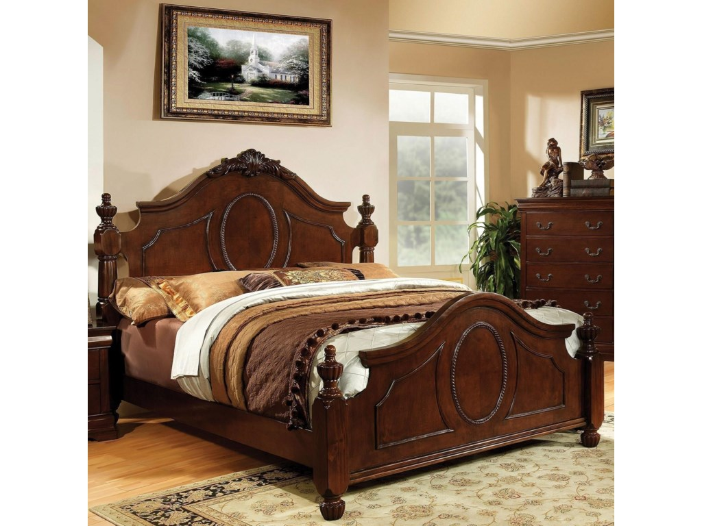 brand new e68d3 c3528 Velda II Traditional Queen Size Bed with Decorative Carved Headboard and  Posts by Furniture of America at Dream Home Interiors