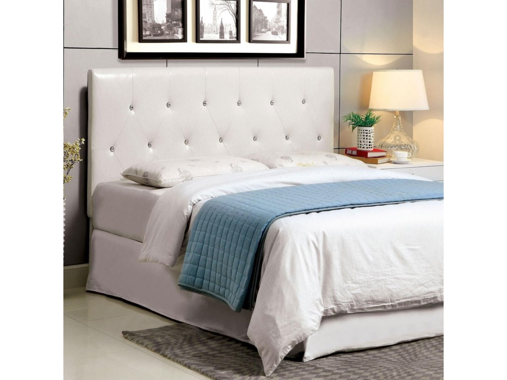 Velen California King Faux Leather Upholstered Headboard with Acrylic  Crystal Buttons by Furniture of America at Rooms for Less