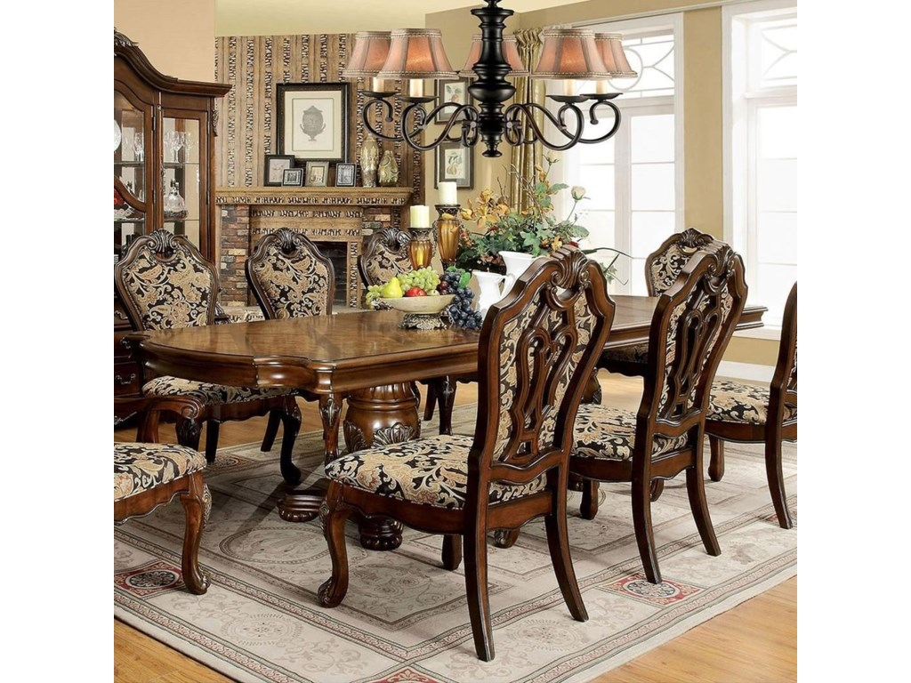 Furniture Of America Vicente Traditional Formal Double Pedestal Dining Table With 2 Extension Leaves