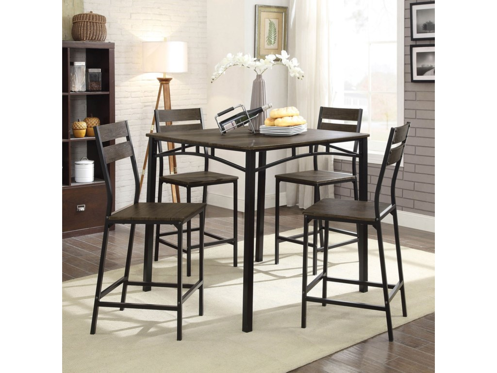 Furniture of America Westport5-Piece Counter Height Table Set