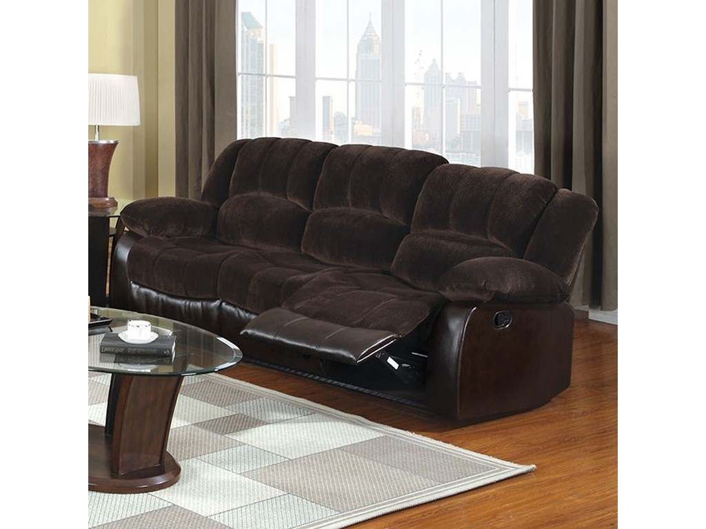 Winchester Casual Two Tone Reclining Sofa With Leatherette