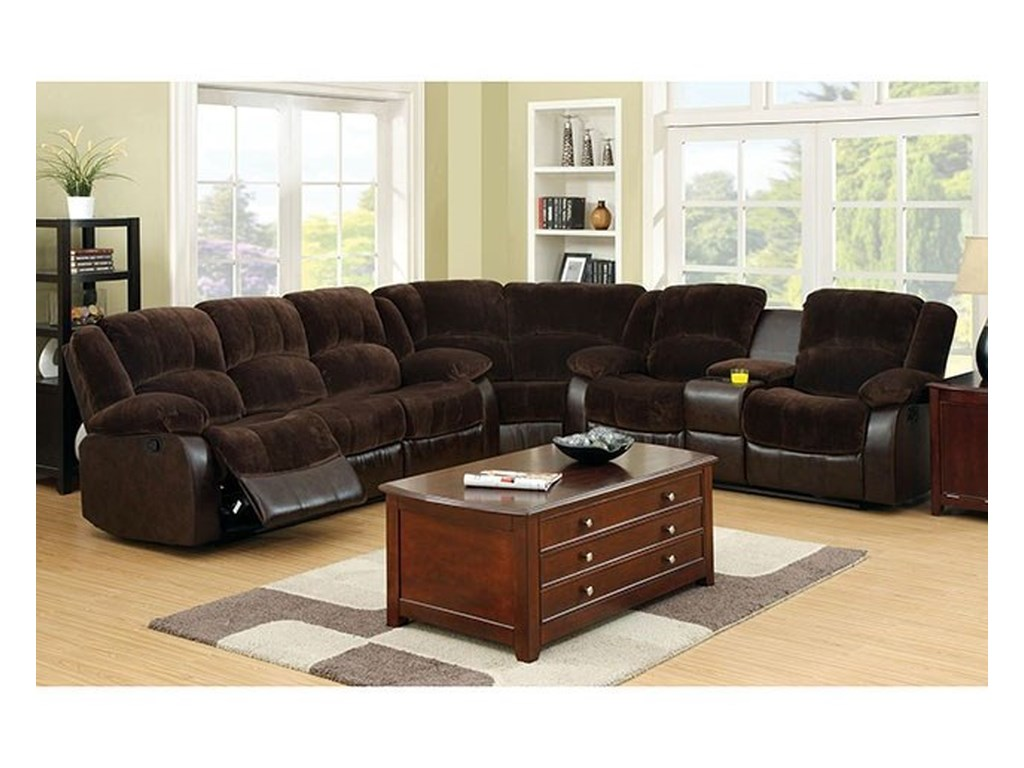 Winchester Casual Three Piece Reclining Sectional Sofa with Cupholder  Storage Console by America at Del Sol Furniture