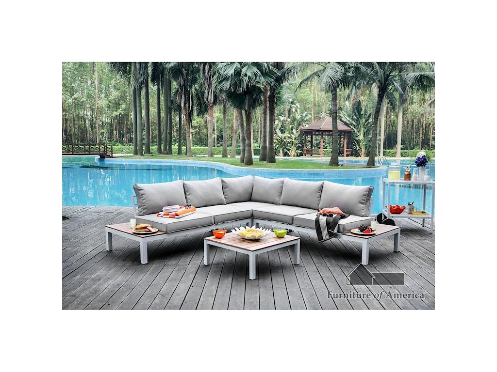 Furniture of America WinonaCorner Chair + Ottoman
