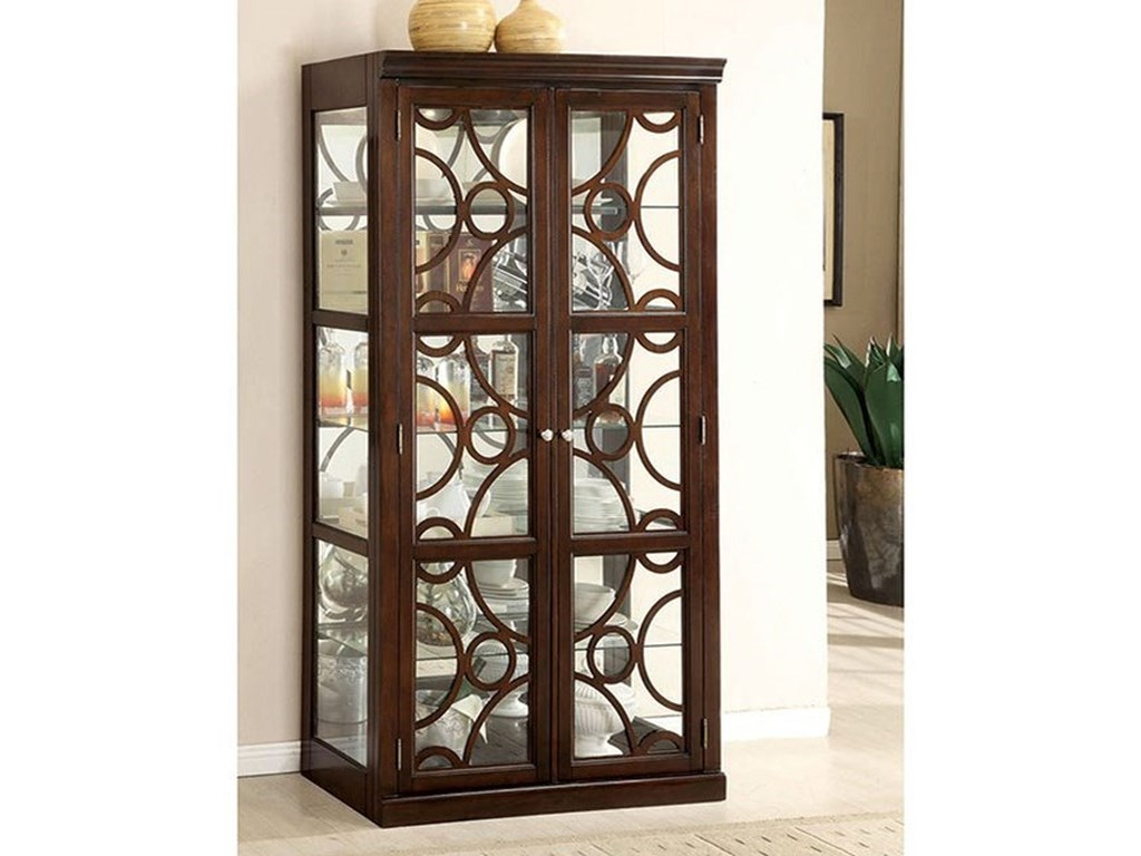 Furniture Of America Woodmont Cm3663cr Traditional Curio With