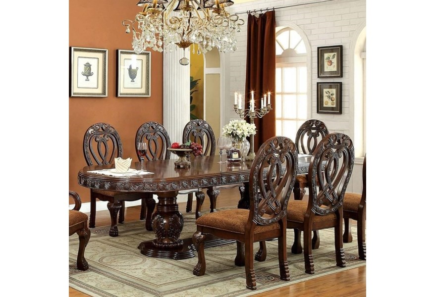 Furniture Of America Wyndmere Cm3186ch T Table Traditional Dining Table Corner Furniture Dining Tables