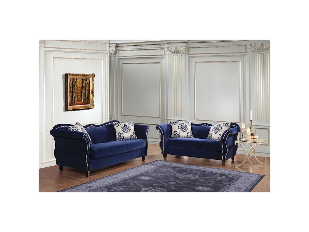 Furniture of America ZaffiroSofa and Love Seat Set