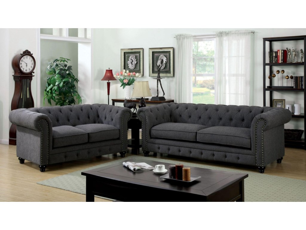 America Stanford Cm6269gy Lv Cm6269gy Sf Stanford Gray Sofa Group