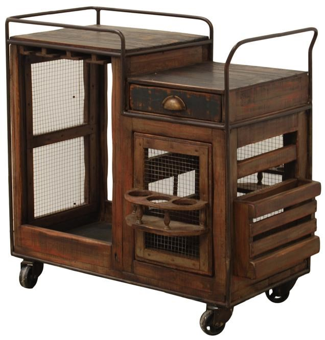 Furniture Source International Dining Antique Solid Wood Bar Cart With  Wheels