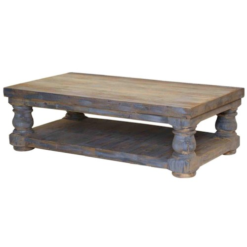 Furniture Source International Occasional Tables Coastal Farmhouse Old Wood Distressed Coffee Table