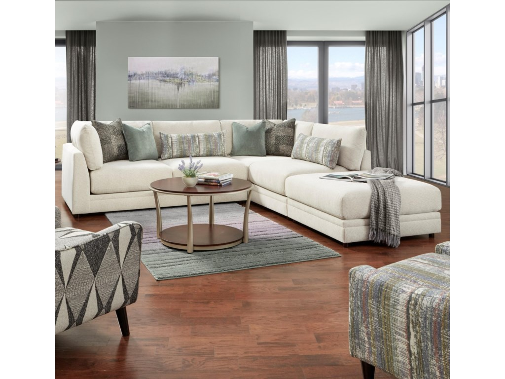 Powell's V.I.P. 02-313-Piece Sectional with Ottoman