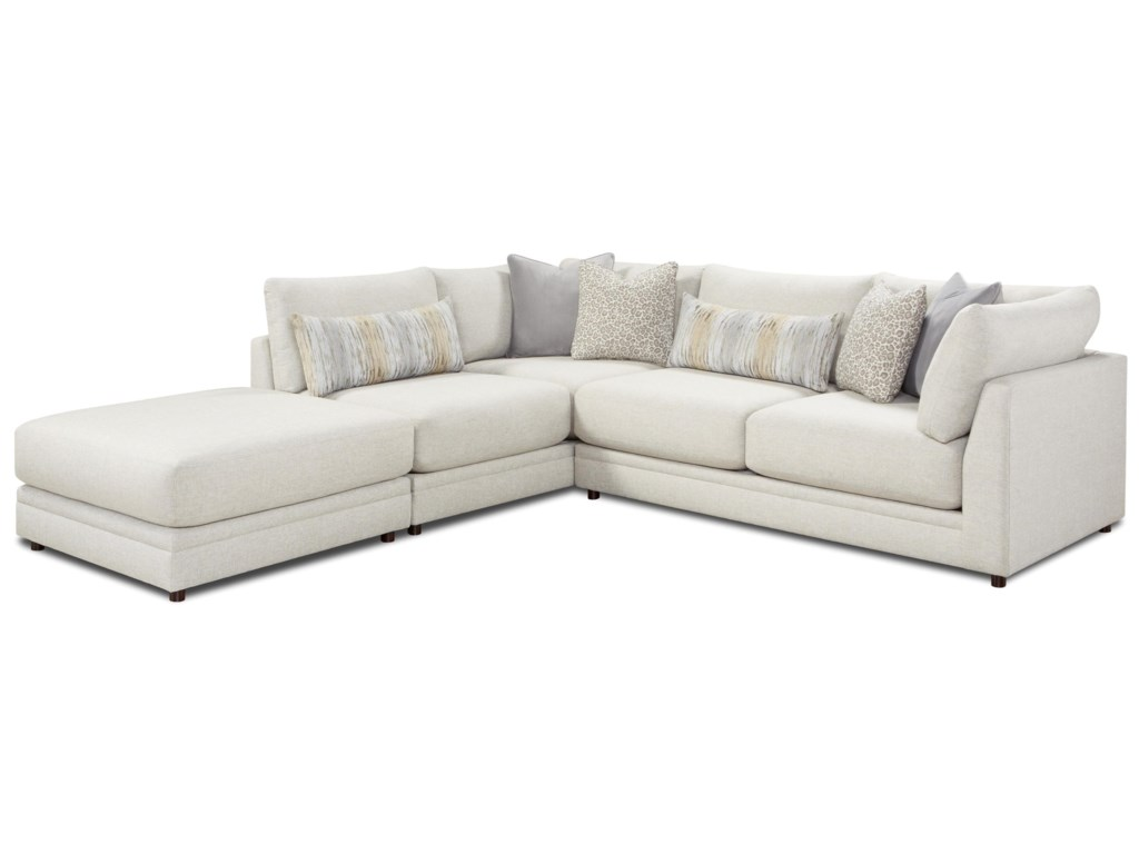 Fusion Furniture 02-313-Piece Sectional with Ottoman