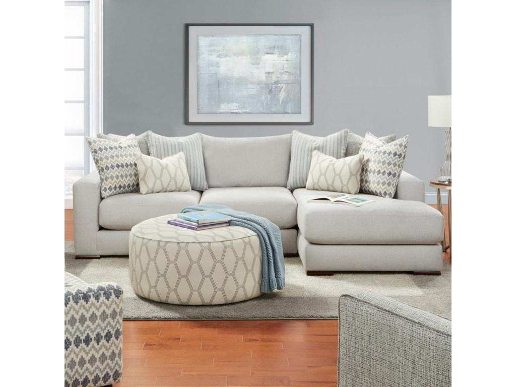 1050-20 Contemporary 2-Piece Sectional with Right Chaise by Fusion  Furniture at Furniture Superstore - Rochester, MN