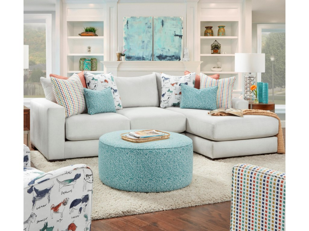 Fusion Furniture 1050-202-Piece Sectional with Right Chaise
