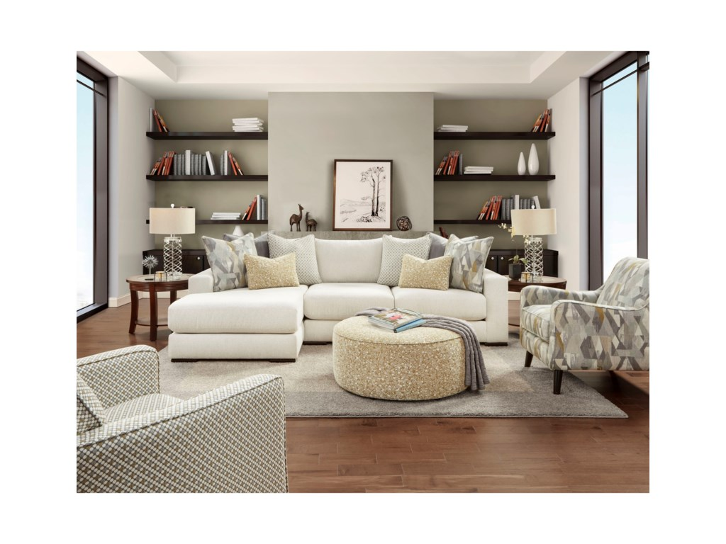 Fusion Furniture 1050-202-Piece Sectional with Left Chaise