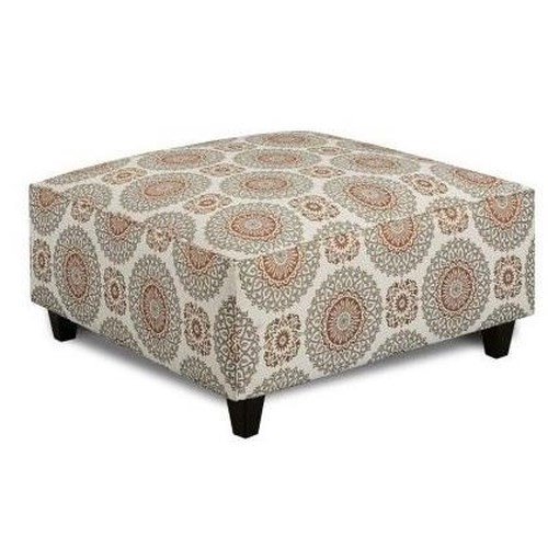 Fusion Furniture 109 Contemporary Square Ottoman with Tapered Wood Legs