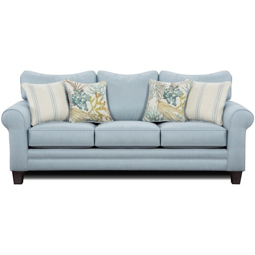 Fusion Furniture 1140 Stationary Sofa w/ Accent Pillows
