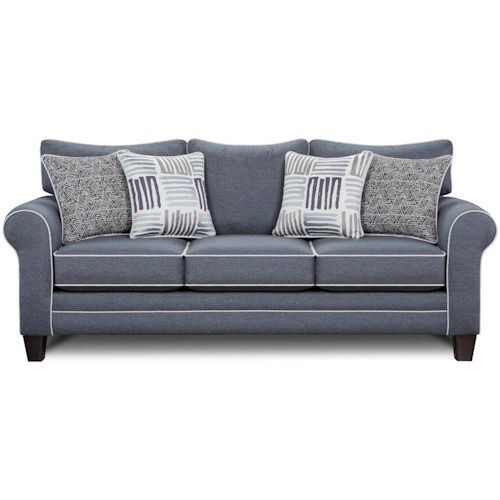 Fusion Furniture 1140 Sleeper Sofa w/ Contrast Welts