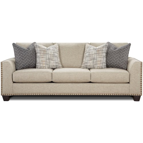 Fusion Furniture 1430 Contemporary Sofa with Nailhead Trim