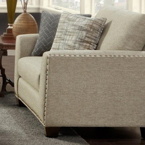 Fusion Furniture 1430 Contemporary Chair and 1/2 with Nailhead Trim