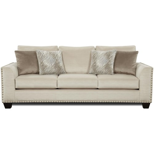 Fusion Furniture 1460 Sofa with Flared Arms and Nailhead Trim