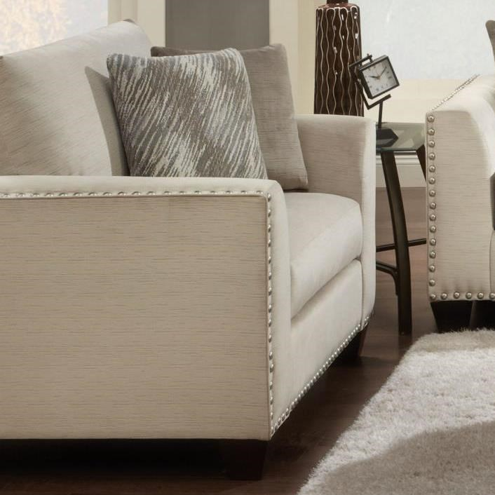 Merveilleux Fusion Furniture 1460 Chair And A Half With Flared Arms And Nailhead Trim