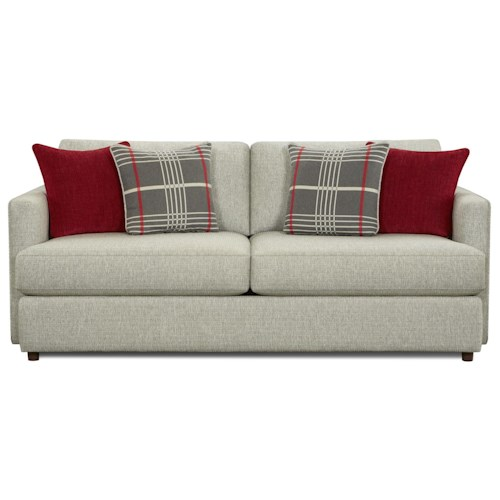 Fusion Furniture Greenwich Contemporary Sofa with Track Arms and 4 Accent Pillows