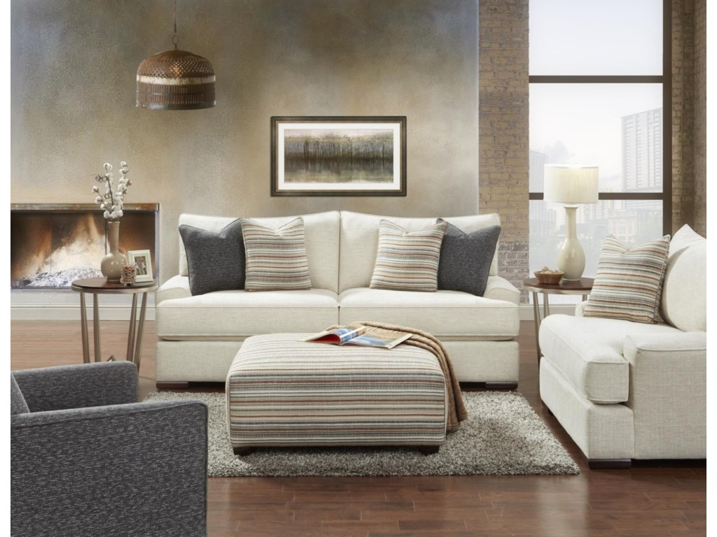 Fusion Furniture Bradley-CreamSolid Cream Sofa, Chair & Ottoman
