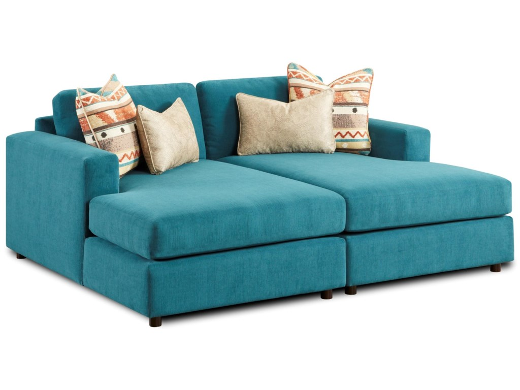 Fusion Furniture 2051Pit Sectional with Side by Side Chaises