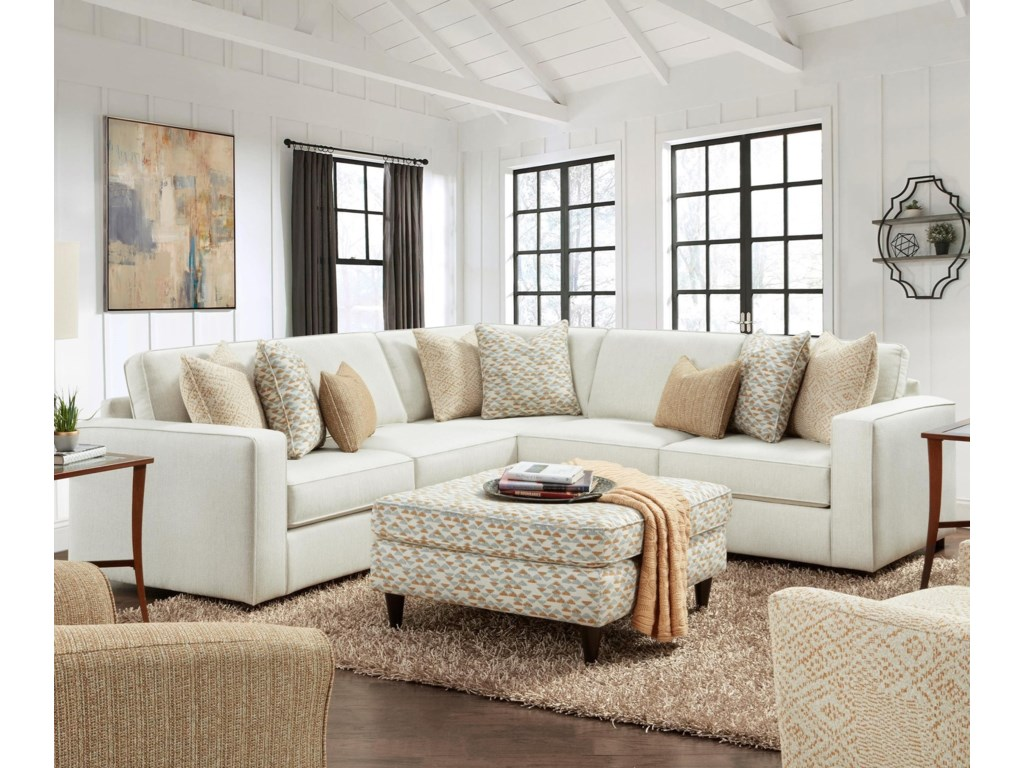 Fusion Furniture 20613-Piece L-Shape Sectional
