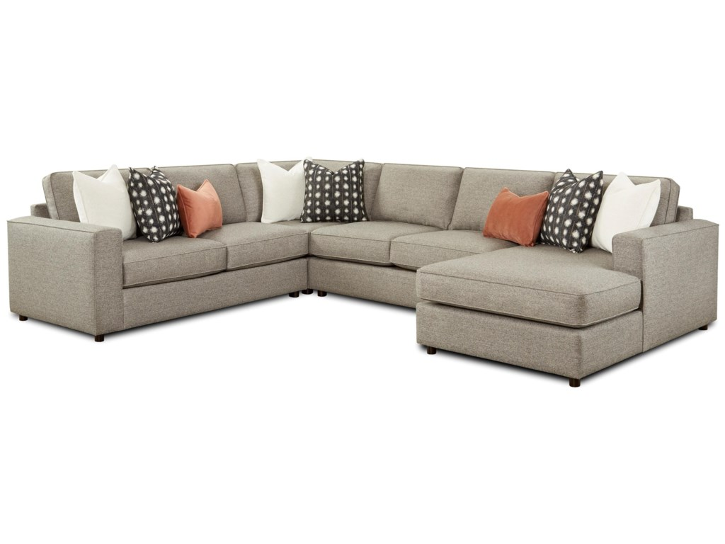 Fusion Furniture 20614-Piece Sectional with Chaise