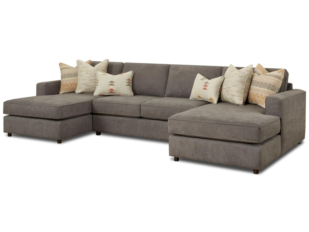 Fusion Furniture 20613-Piece Dual Chaise Sectional