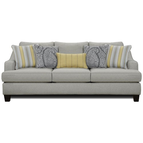 Fusion Furniture 2310 Transitional Stationary Sofa with Shapely Track Arms