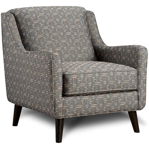 Fusion Furniture 240 Mid-Century Modern Accent Chair with Angled Arms