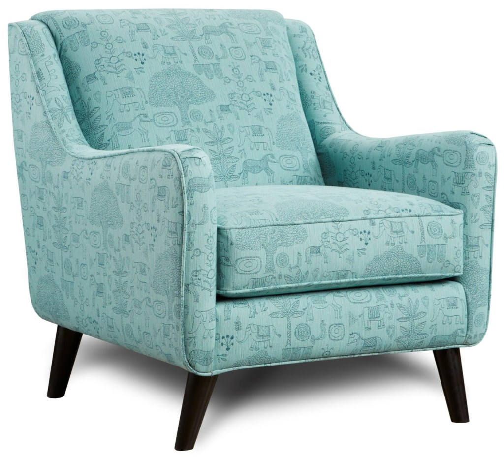 Fusion furniture 240 mid century modern accent chair with angled arms