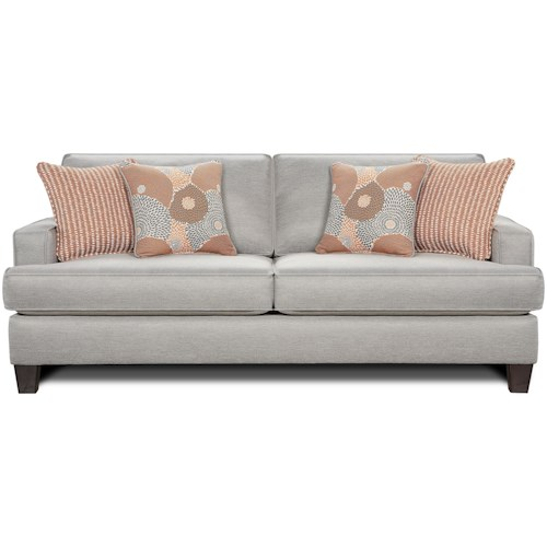 Fusion Furniture 2490 Contemporary Stationary Sofa with Track Arms