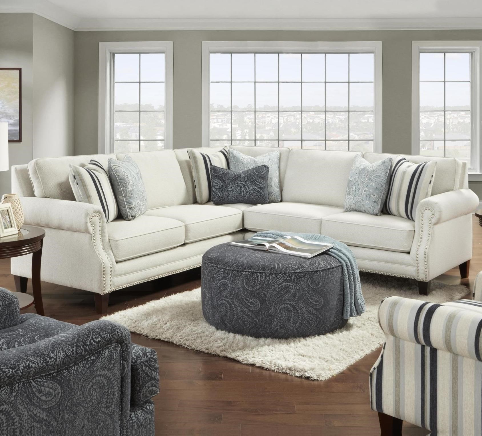 Picture of: Fusion Furniture 2530 Transitional 4 Seat Sectional Sofa With Nailhead Trim Howell Furniture Sectional Sofas