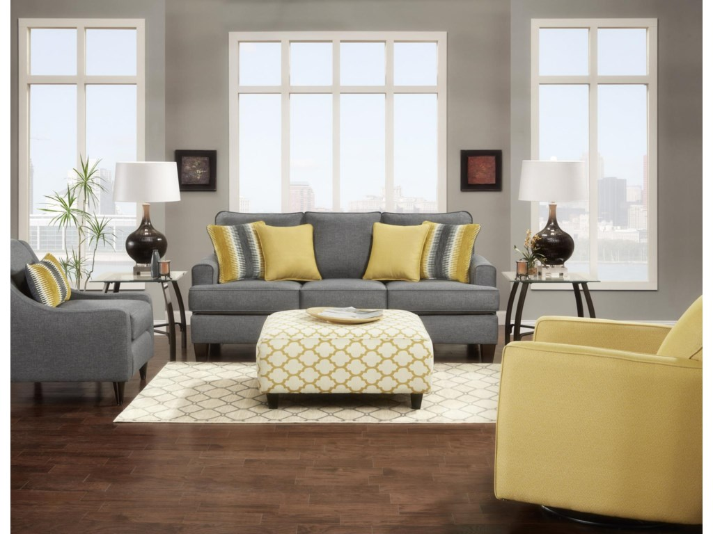 Fusion Furniture Maxwell Gray Maxwell Gray Sofa - Great American ...